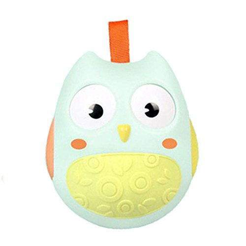 Baby Owl Roly-poly Toy Rattles Stroller Toy Sound Child Kids Educational Toy Gift by Vibola (Mint Green) (Mint Stroller)