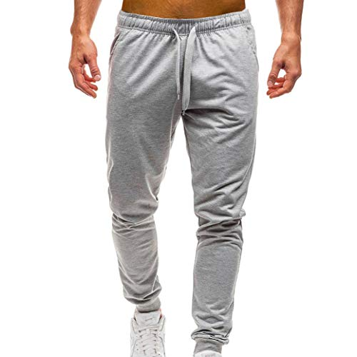 Beach Cabana Lounge - Perman Men's Sweatpants Elastic Waist Drawstring Solid Jogger Runing Trousers Pants with Pocket Clearance Sale(US 10/CN 2XL,Grey)