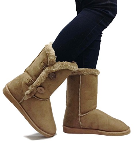 Womens TRISH Soft Fur Lined Warm Winter Boot 4-Button Mid Calf Faux Suede Girls