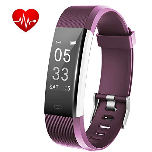 Lintelek Fitness Tracker, Activity Tracker with Heart Rate Monitor, Waterproof Smart Fitness Watch with Sleep Monitor, Step Counter, Calorie Counter, Pedometer Watch for Kids, Women and Men (Purple)