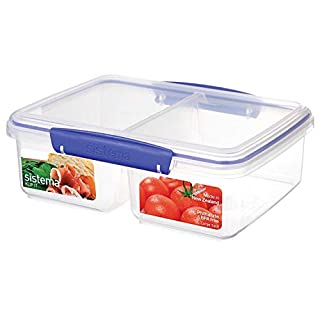 Sistema KLIP IT Collection Large Rectangle Food Storage Container with Split Compartments, 64 oz./1.9 L, Clear/Blue (B002KKCLH8) | Amazon Products