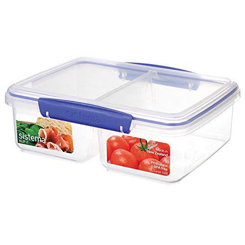 Sistema KLIP IT Collection Large Rectangle Food Storage Container with Split Compartments, 64 oz./1.9 L, ()