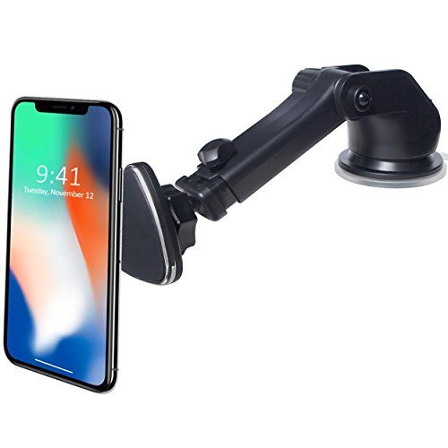 CRage Magnetic Cell Phone Stand Mount Holder for Car Dashboard Windshield, Strong Magnet Guarantee Extendable Arm Design, Fits Apple iPhone X 8 7 6 Android Galaxy S8 S7 S6 and Other Smartphone, Black
