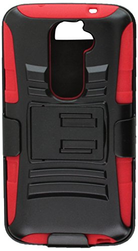 Eagle Cell Hybrid Skin Case with Stand and Holster for LG G2 - Retail Packaging - Red/Black (Verizon Lg G2 Bling Case)