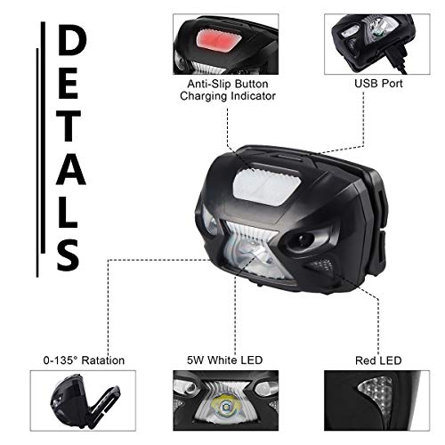500 Lumens Ultra Bright Hands-free LED Headlamp - Rechargeable Last 48 Hours, 8 Modes White Red Led Lamp, Lightweight with Portable Pouch, Best Headlight for Camping Hiking Many Lighting Use - Black
