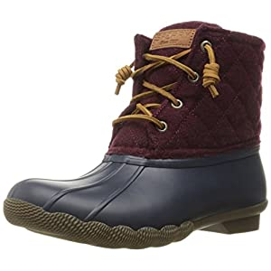 Sperry Top-Sider Women's Saltwaterquilted Wool Rain Boot, Navy/Maroon, 8 M US
