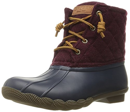 Sperry Top-Sider Women's Saltwaterquilted Wool Rain Boot, Navy/Maroon, 5.5 M US (Boots For Women Online)