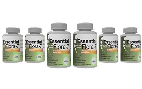 Essential Flora-7 Probiotic 700mg with L Acidophilus for Intestinal Health (30 Time Release Caps) 6 Months by Marine Essentials
