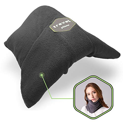 Yastik Scarf Travel Pillow for Airplane Neck Wrap-Around Support -Ultralight, Soft & Adjustable for Long Haul Sleep - Portable & Machine Washable Nap Scarf - Scientifically Proven (Grey)
