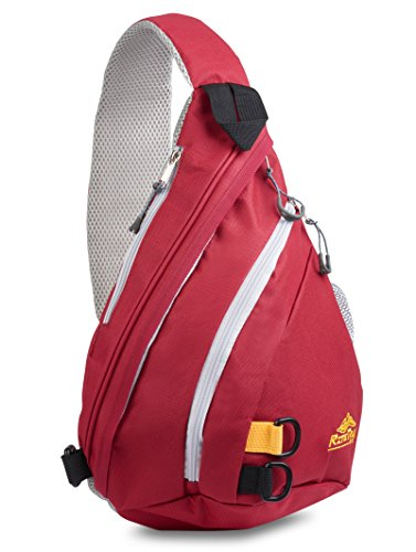 Sling Backpack by RiteTrak Sports - Best Lightweight Multi-Use Pack for Travel Hiking Biking or Fitness, One Strap Shoulder or Crossbody Bag (Sun Devil Red)