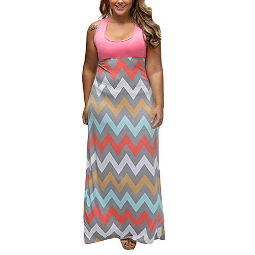 Long Maxi Dress,Caopixx Plus Size Dress Women's Chevron Print Summer Short Sleeve Split Floral Print Flowy Party Dress -