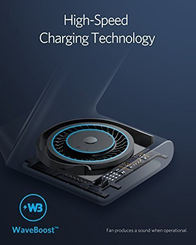 Anker PowerWave 7.5 Fast Wireless Charging Stand with Internal Cooling Fan, Qi-Certified, 7.5W Charges iPhone X /8/8 Plus, 10W Charges Galaxy S9/S9+/S8/S8+/S7/Note 8, LG G7 (with Quick Charge Adapter) by Anker (Image #2)