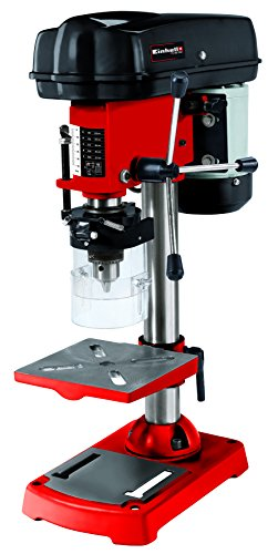 Einhell 4250670 Taladro de columna (350 W, 580 - 2650 U/min, inclinable, orientable y ajustable, de perforación, virutas de mesa, protección), Rojo