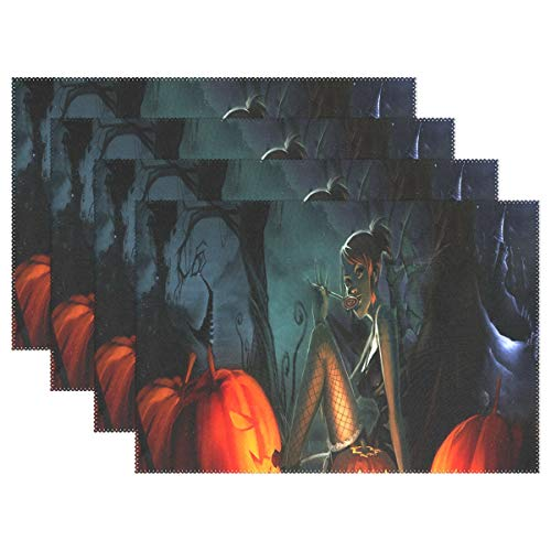NMCEO Place Mats Halloween Maid Pumpkin Personalized Table Mats for Kitchen Dinner Table Washable PVC Non-Slip Insulation 1 Piece -