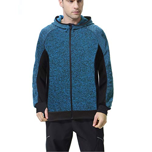 BELE ROY Men's Performance Active Training Full-Zip Hoodie Jacket,Gym Workout Hooded Sweatshirt for Men Fitted Training Bodybuilding Running (Blue-1,L)