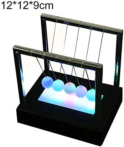 lightclub LED Luminous Light Newton Cradle Pendulum Balance Swing Ball Decorative Ornament Table Desktop Funny Novelty Decor Small
