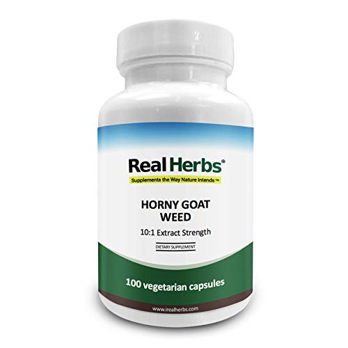 Real Herbs Horny Goat Weed (Epimedium Sagittatum) Extract - Derived from 7,000mg of Horny Goat Weed for Men & Women with 10:1 Extract Strength - Epimedium Powder with Icariin in 50 Vegetarian Capsules