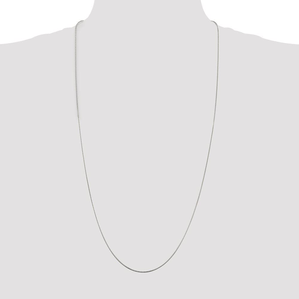 Solid 925 Sterling Silver 1.2mm Diamond-cut Snake Chain Necklace with Secure Lobster Lock Clasp