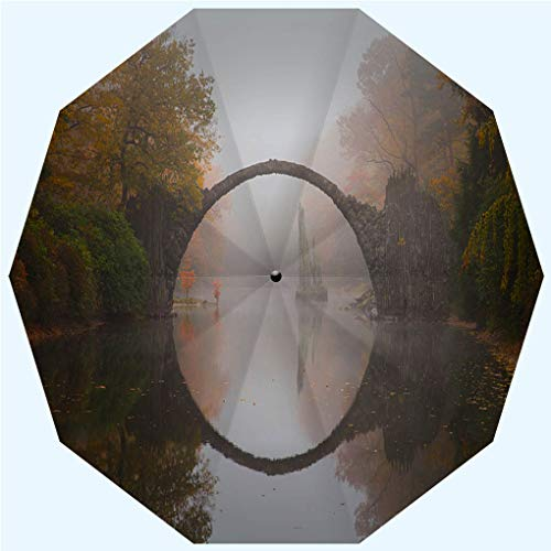 Fashion Travel Umbrella Sun Umbrella UV protection automatic opening and closing, Rakotzbrücke Devils bridge in early morning mist, windproof - rainproof - men - ladies - versatile - 42 inches