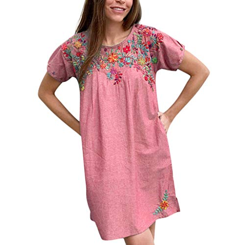 iBOXO Women's Summer Holiday Casual Cotton Embroidered Print Shirt Dress with Pocket(Red,S)