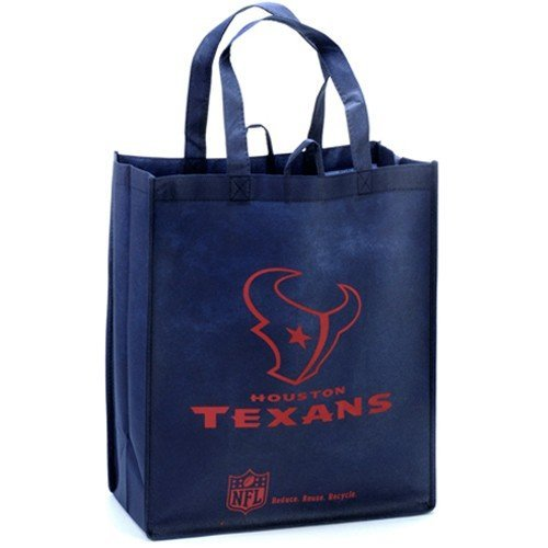 NFL Houston Texans Printed Non-Woven Polypropylene Reusable Grocery Tote Bag, Blue