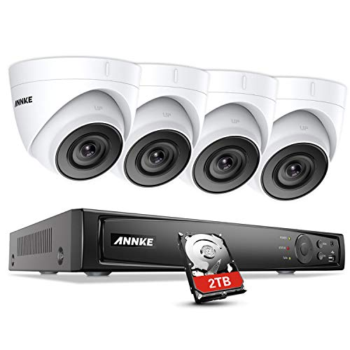 (ANNKE Outdoor 5MP Security Camera System 8CH H.265+ 4K PoE NVR and 4X Night Vision IP Cameras, IP67 Weatherproof, 2TB HDD for Home or Business Long Term Recording, Support ONVIF Remote Access )