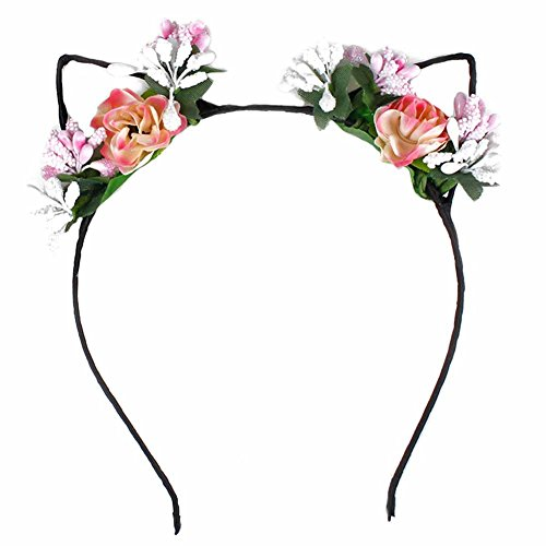 BAOBAO Cute Cat Ears Elf Rose Flower Headband Hairband Hair Hoop Halloween Xmas Cosplay