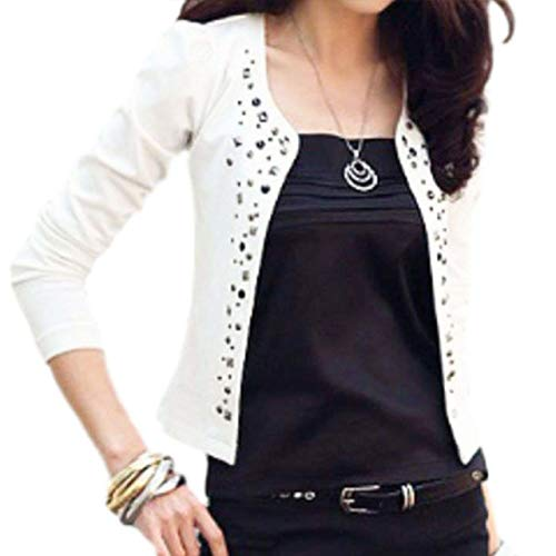 (Women's Cardigans Casual Outer Studs Deco Slim Fitted Office Casual (US10(tag XXL), White) Adults Classy Evening wear Formal Garment Open-Cut Pretty Retro Stretch Fabric Sweater)