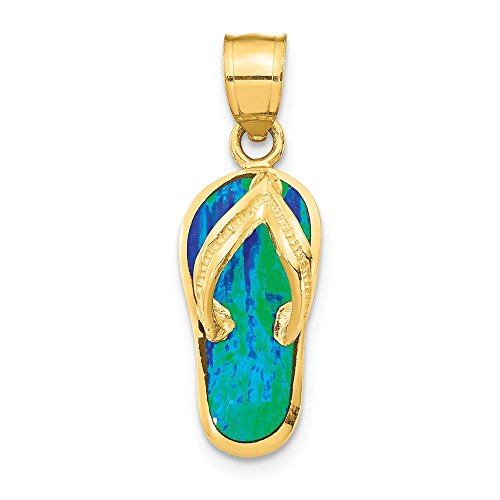14k Flop Opal Flip Gold - 14k Yellow Gold Created Blue/green Opal Flip Flop Pendant Charm Necklace Sea Shore Sal Fine Jewelry Gifts For Women For Her