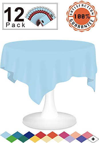 12 Pack Plastic Tablecloth Light Blue Disposable Table Covers Premium 84 Inches Round Table Cloth for Round Tables up to 6 Feet and for Picnic Birthdays Weddings any Events Occasions, PEVA Material