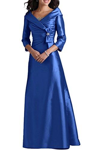 4 Mutterkleid Lang Abendkleid A Ivydressing Damen Taft Linie Royalblau Aermel 3 V Festkleid Liebling Ausschnitt Abendkleid qB1wtH