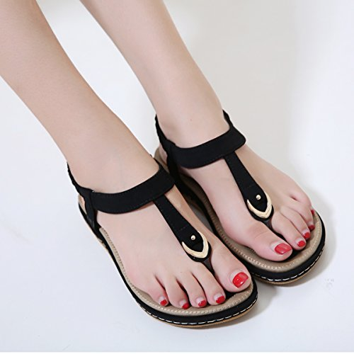 Pictures of Wollanlily Women Summer Beach Flat Sandals T- 2