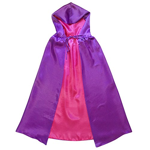 [Superhero or Princess REVERSIBLE HOODED CAPE Kids Adult Halloween Costume Cloak (M (42 Inches), Purple & Hot] (Purple Hooded Cape)