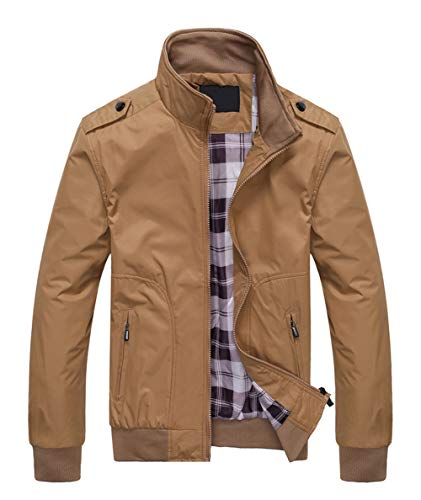 Springrain Men's Casual Stand Collar Slim Bomber Jacket (X-Small, ()