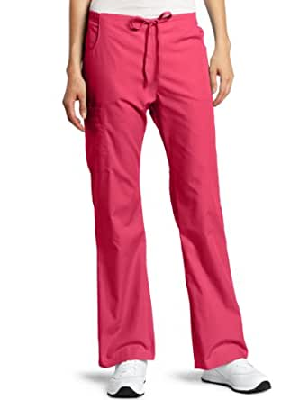 Dickies Scrubs Women's Petite Back Elastic Cargo Pant, Hot Pink, Large