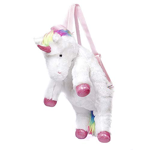 Tanicor Magical Unicorn Backpack 14 Inches for Girls Kids First Day to School, Plush Stuffed Animal -