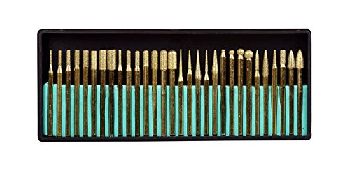 (SE 82331TF 30-Piece Set of Titanium-Coated Diamond Burrs, Grits 120-150)