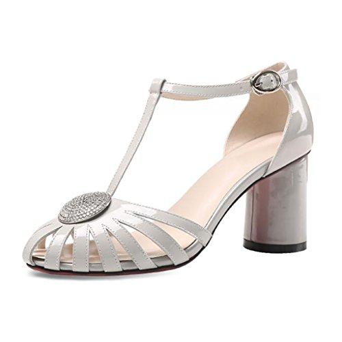 MUMA Escarpin Mme Baotou sandales été nouveau crue creuse avec des chaussures à talons hauts creuse sauvage noir blanc ( Couleur : Noir , taille : EU39/UK6/CN39 ) Blanc