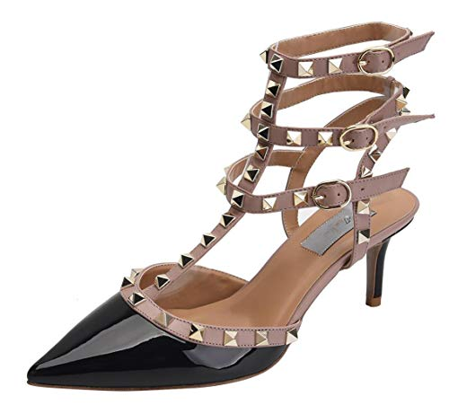 WSKEISP Womens Pointed Toe Slingback Kitten Heel Studded Strappy Sandals T-Strap Bridal Party Prom Shoes Black Beige Patent PU EU41 (Dorsay Style T-strap Pump Shoes)