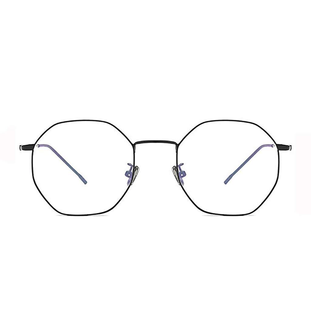アンチブルーレイフラットメガネメガネメガネ女性モバイルコンピュータゴーグルポリゴン、眼の保護  ブラック B07SCXBLRZ