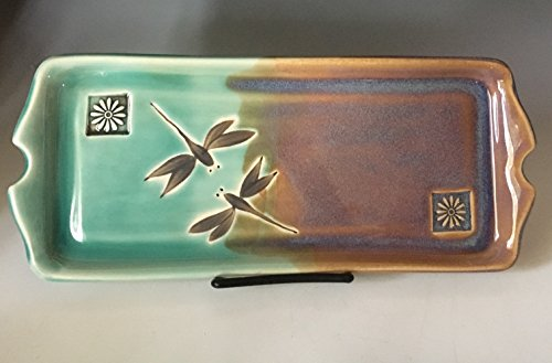 Stoneware Serving Tray, Appetizer Tray, Dragonfly Pottery Stoneware Tray, Dragonfly, Cheese and Cracker Tray Dragonfly Tray