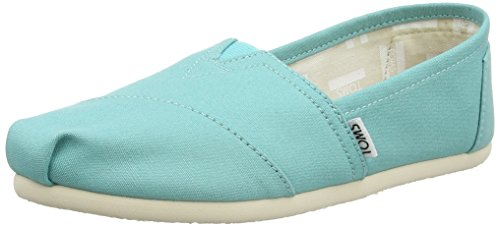 Turquoise Canvas Footwear - TOMS - Women Slip-On Shoes, Size: 5.5 B(M) US, Color: Turquoise Canvas