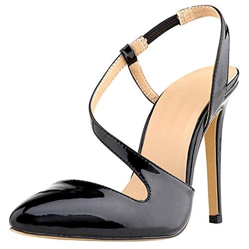 QP Color Sandals Heeled Shoe Women's High Skin Dress Candy Snake fereshte Pump Black 6PfqSwv