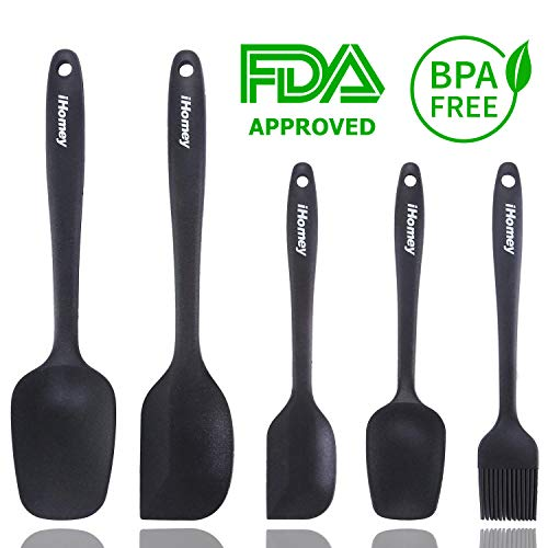 - iHomey Silicone Spatulas Set—446ºF Heat Resistant Rubber Spatulas/Nonstick for Baking Mixing Cooking/Seamless One-Piece Design/Dishwasher Safe/BPA Free(5 Pieces,Black)