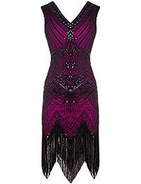 1920s Flapper Double V-Neck Sequined Rhinestone Embellished Fringed Dress D20S003