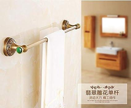 Joeesun Estante de Toalla de baño Europeo Colgante de herrajes Antiguos Modelos de Jade Traje de Piedra Verde Latón Cepillado Herrajes de baño, A