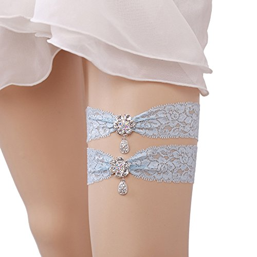 Xoemir Womens Blue Lace Wedding Garter Set of 2 for Brides Garters for Toss Away