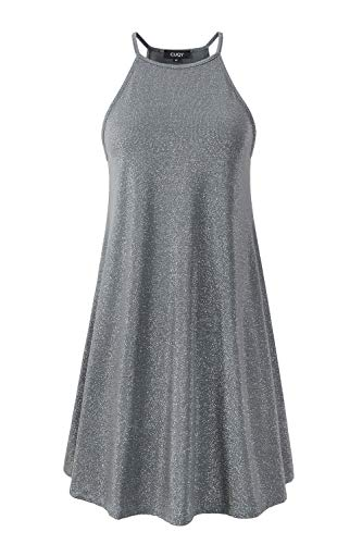 CUQY Womens Cocktail Sequined Mini Dress Sleeveless A-Line Halter Neck Dress (Gray, S)