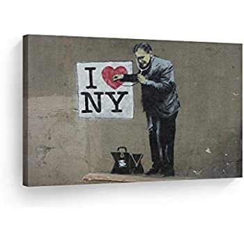 "Banksy graffiti art Will Work for Idiots Giclee Canvas Print 8/""x10/"""