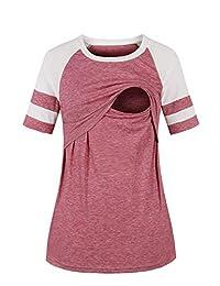LAVIQK Women's Maternity Nursing Top Breastfeeding Tee Shirt Raglan Short Long Sleeve Casual Pregnancy Clothes